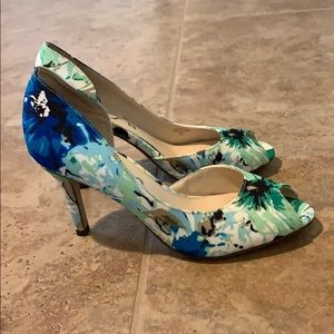 Green Multi Fabric Heels